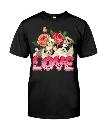 shih tzu love and rose flower
