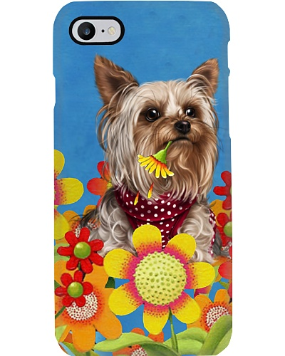 Yorkshire terrier flowers and blue sky case