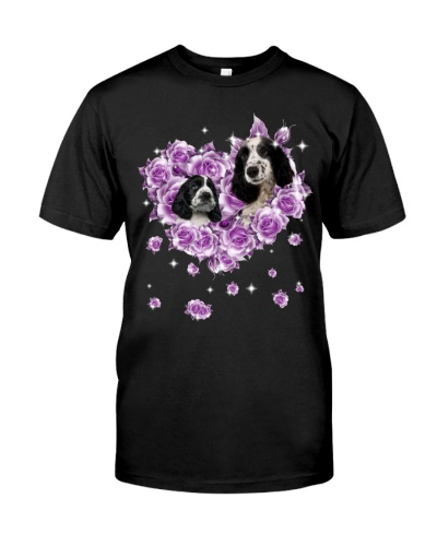 Black and white cocker spaniel mom purple rose