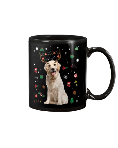 Golden retriever reindeer in gift rain