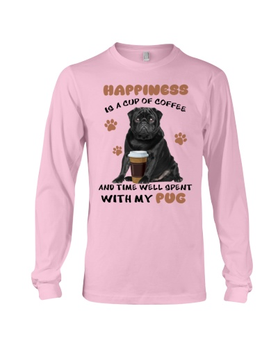 Coffee and time well spent with black Pug shirt