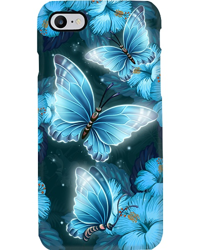 Butterfly blue hibiscus flowers phone case