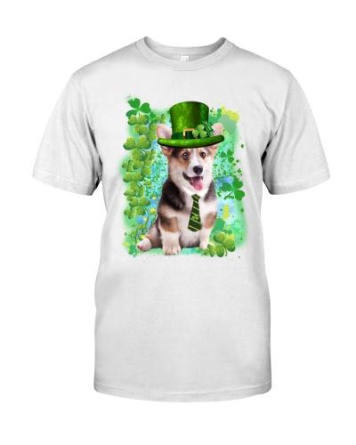 Irish Clover Happy Corgi Shirt