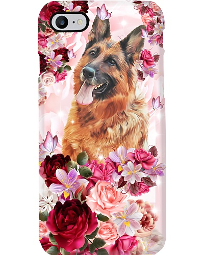 SHN 10 Pink roses German Shepherd phone case