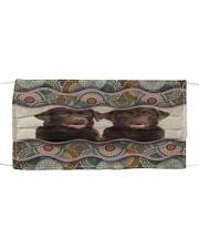 Monica chocolate labrador retriever boho pattern Cloth face mask front