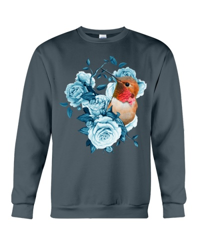 hummingbird and rose blue shirt