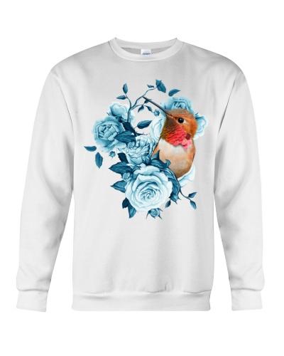 hummingbird and rose blue shirt