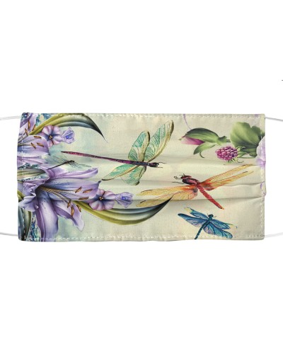 fn dragonfly purple flowers face cover