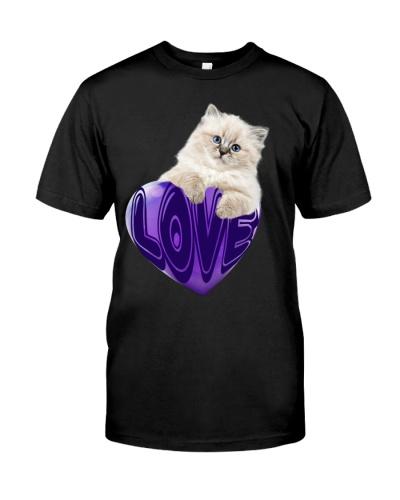 Cat love heart purple shirt