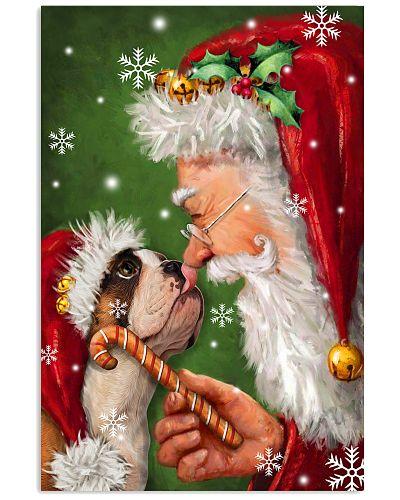 Bulldog smile with santa christmas poster