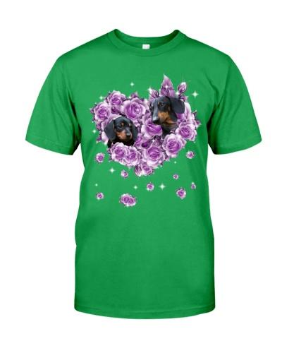 Dachshund mom purple rose shirt