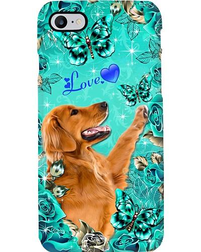 Golden Retriever Love Green Rose Phone Case