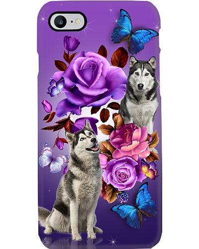 Husky siberian purple flower btfy phone case