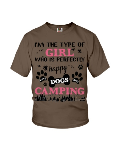 Camping girl and dogs