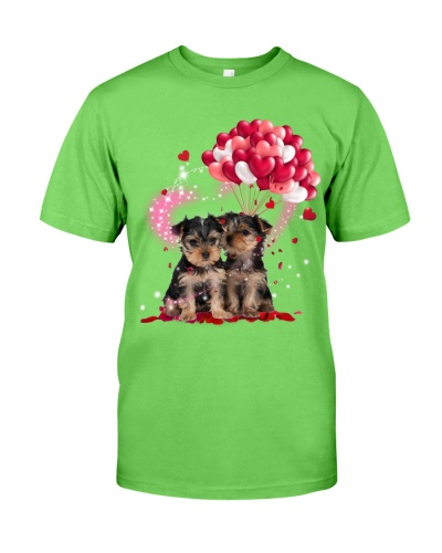 Yorkshire terrier Pink balloons lighte and rose
