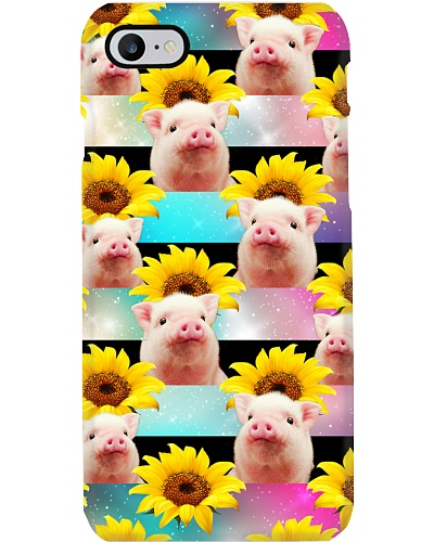 Pig Looking Sunflower Phone Case