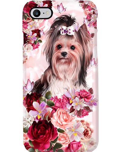 SHN 10 Pink roses Yorkshire Terrier phone case