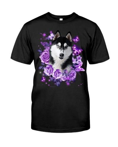 Siberian husky purple flowers