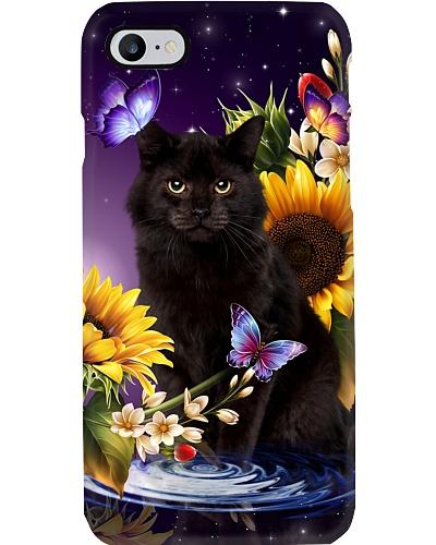Black cat my sunflowers butterfly