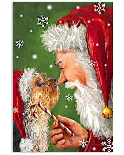 Yorkie smile with santa christmas poster