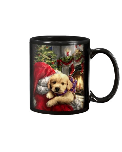 Golden puppy and santa claus mug