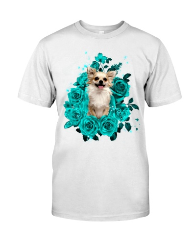 Chihuahua smile turquoise rose shirt
