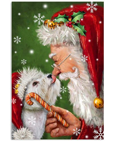 Westie smile with santa christmas poster