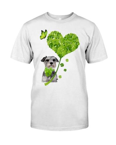 Schnauzer heart four leaf clover lucky shirt