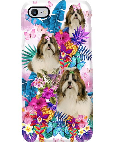 Flower Forest Pink Shih Tzu Phone Case