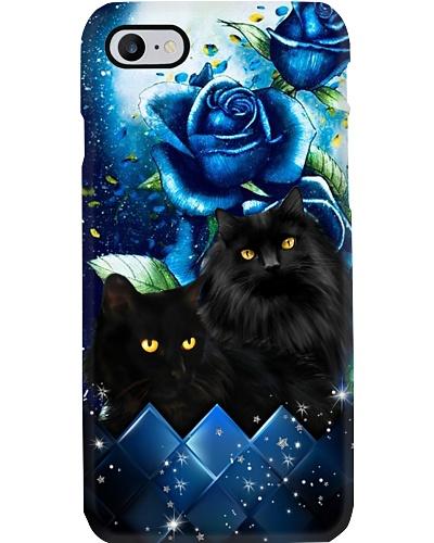 Black cat blue rose phone case