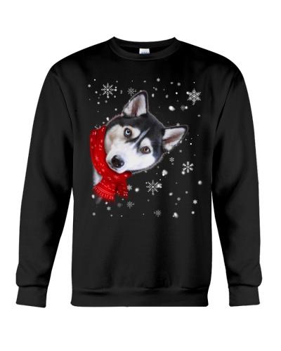 Siberian husky christmas face