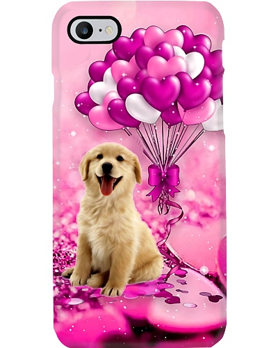 Golden puppy heart balloon purple phone case