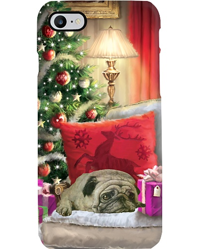 SHN Christmas house sleeping Pug phone case