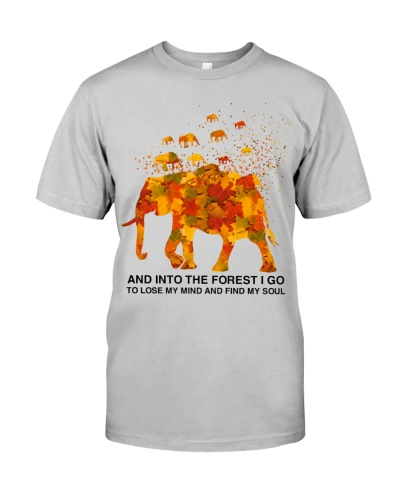 Elephant into the yellow forest