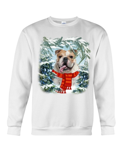 Bulldog in snow forest
