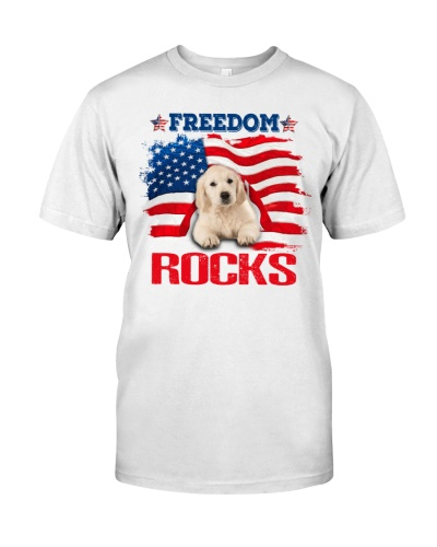 SHN 10 Freedom rocks USA flag Golden Retriever