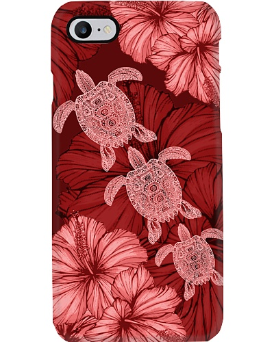 SHN 8 With red hibiscus Turtle phone case