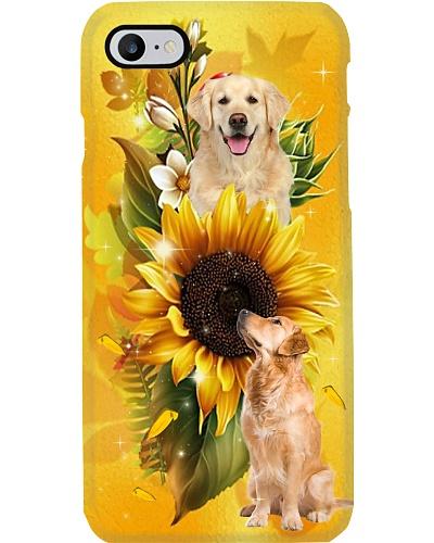 Sunflower With Golden Retriever