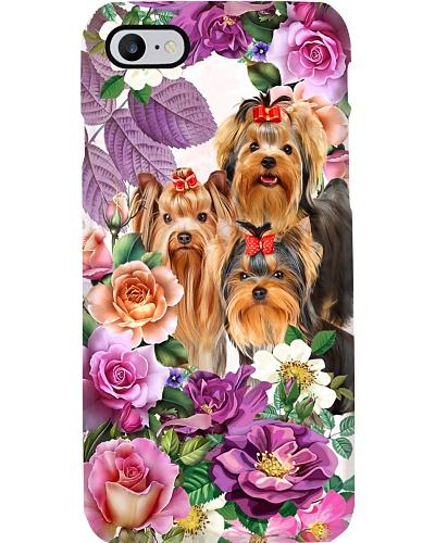 Yorkshire terrier orange pink and violet flower
