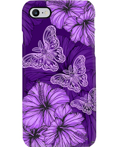 SHN 8 With purple hibiscus Butterfly phone case