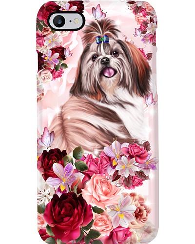 SHN 10 Pink roses Shih Tzu phone case