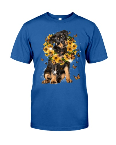 Rottweiler sunflowers laurel wreath