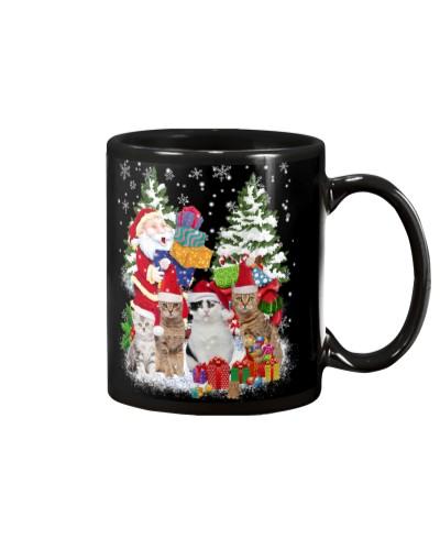 Cat snow night mug