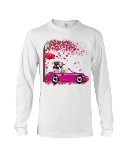 SHN Heart tree pink car Pug shirt
