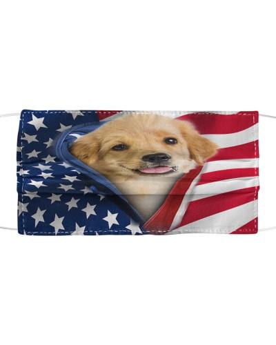 SHN 10 Opened American flag Golden Retriever