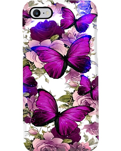 Butterfly purple and rose phone case