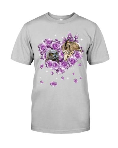 Owls mom purple rose shirt