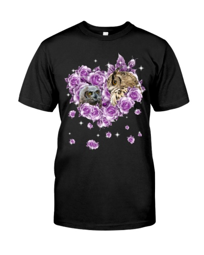 Owls mom purple rose shirt