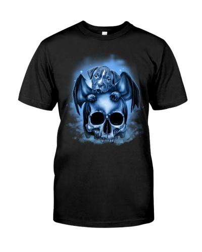 Pitbull blue skull shirt