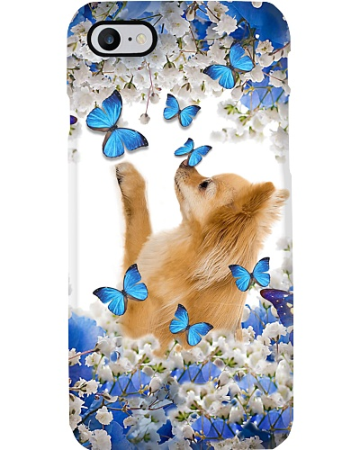 Fn 2 pomeranian blue and white flowers phone case